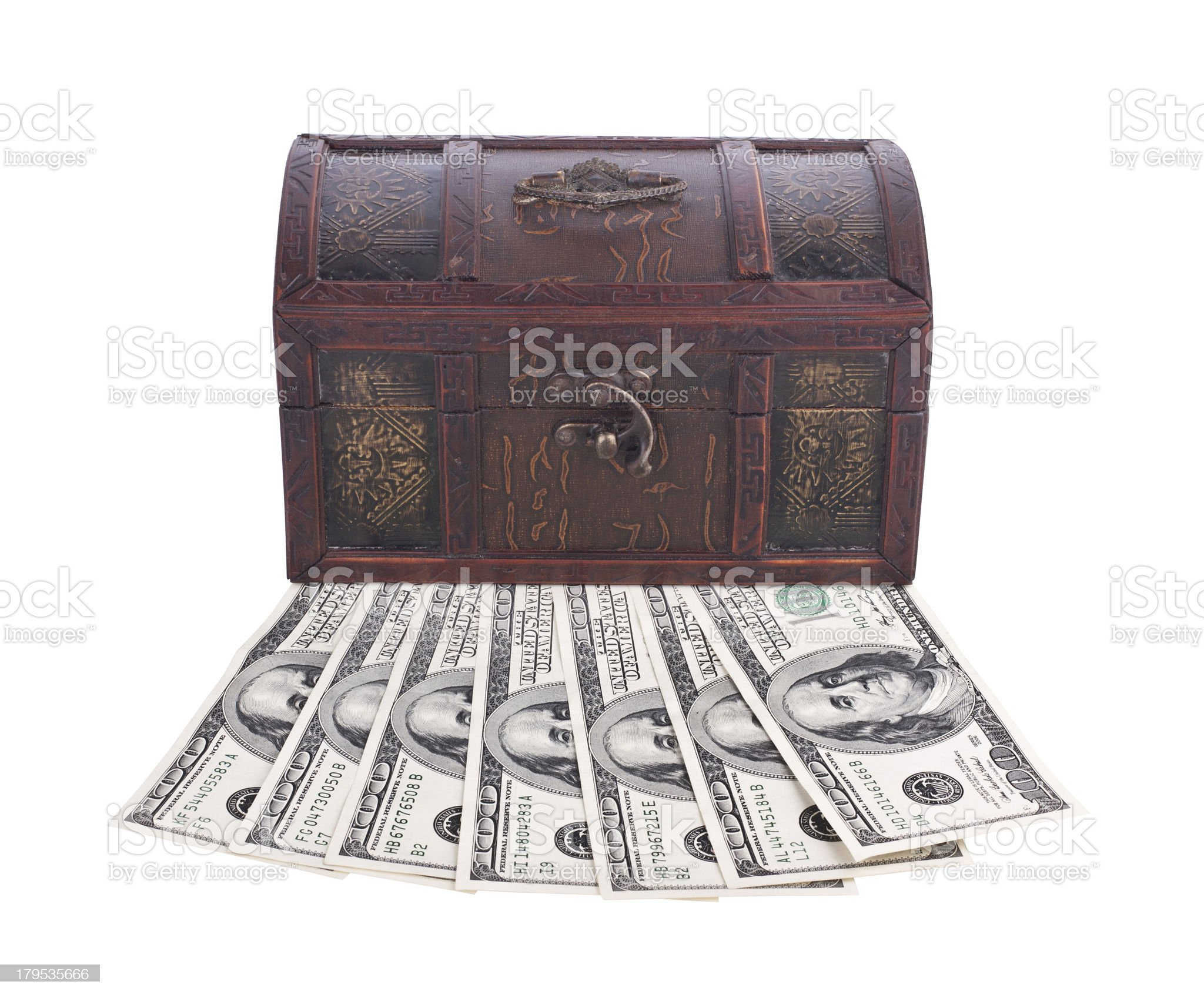 Wooden chest with money isolated on white royalty-free stock photo