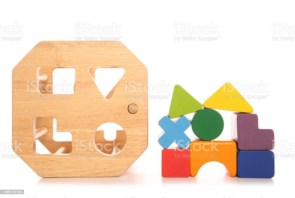 Wooden childs shape sorter toy stock photo