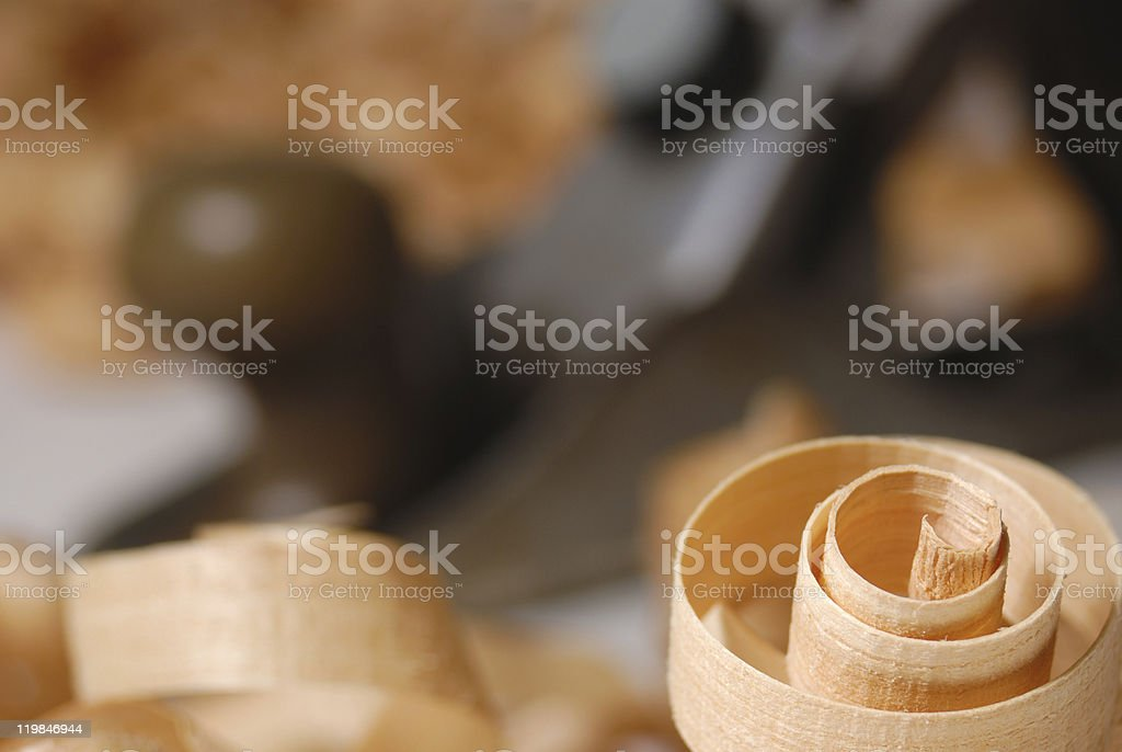 Wooden chips and plane royalty-free stock photo