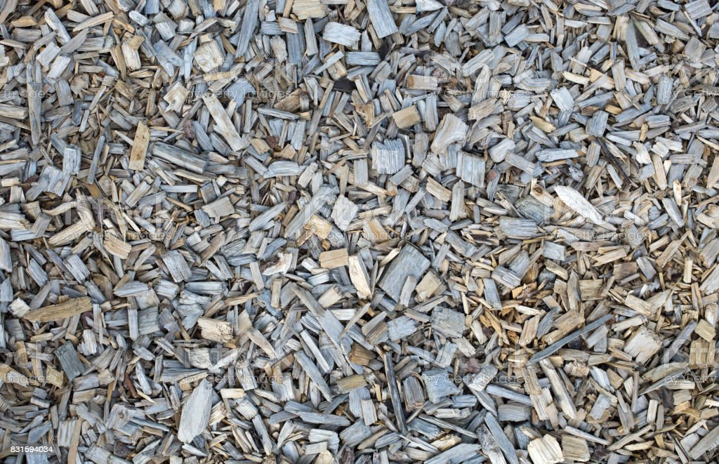 Wooden chips, bark mulch stock photo