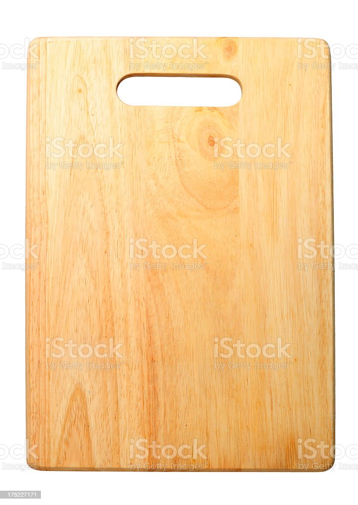 wooden chopping board with handle on isolated white background royalty-free stock photo