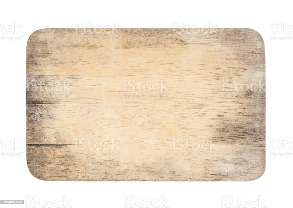 wooden chopping board with scratched surface on isolated backgro stock photo