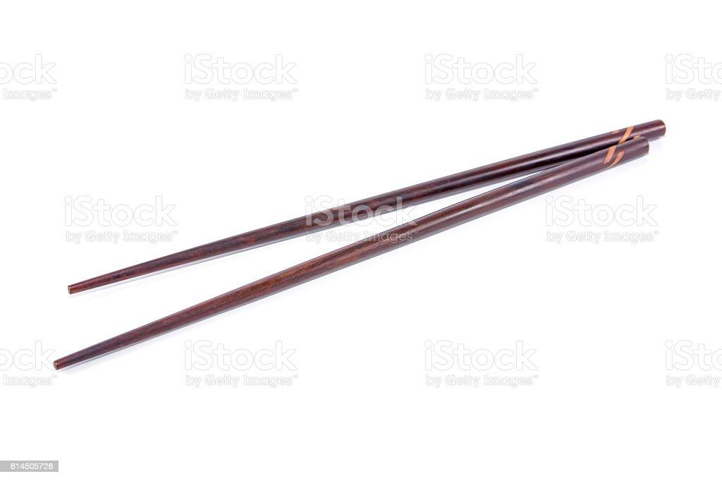 Wooden chopsticks isolated on white background stock photo