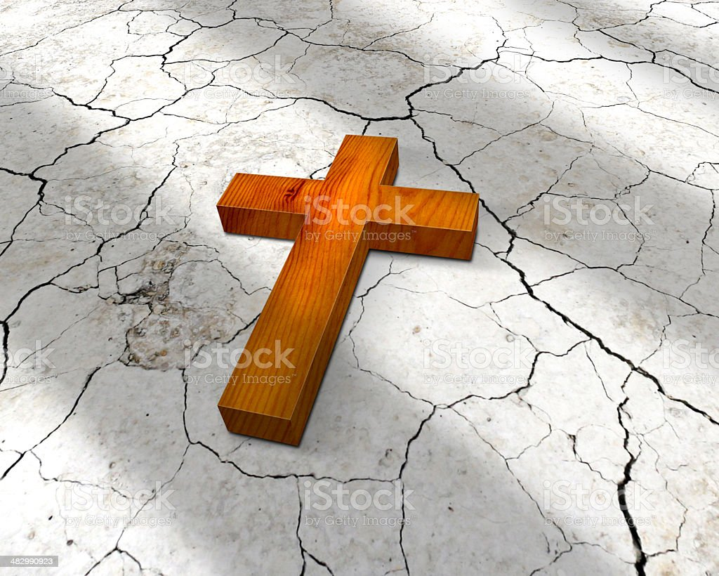 wooden christian cross stock photo