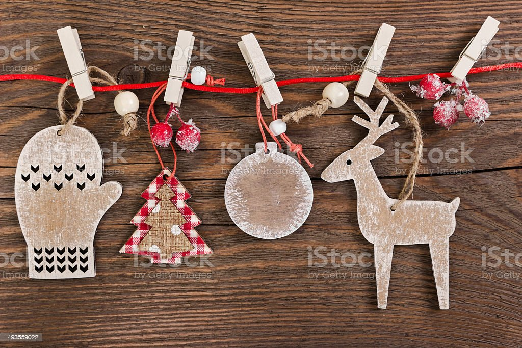 Wooden christmas decoration on wooden background stock photo