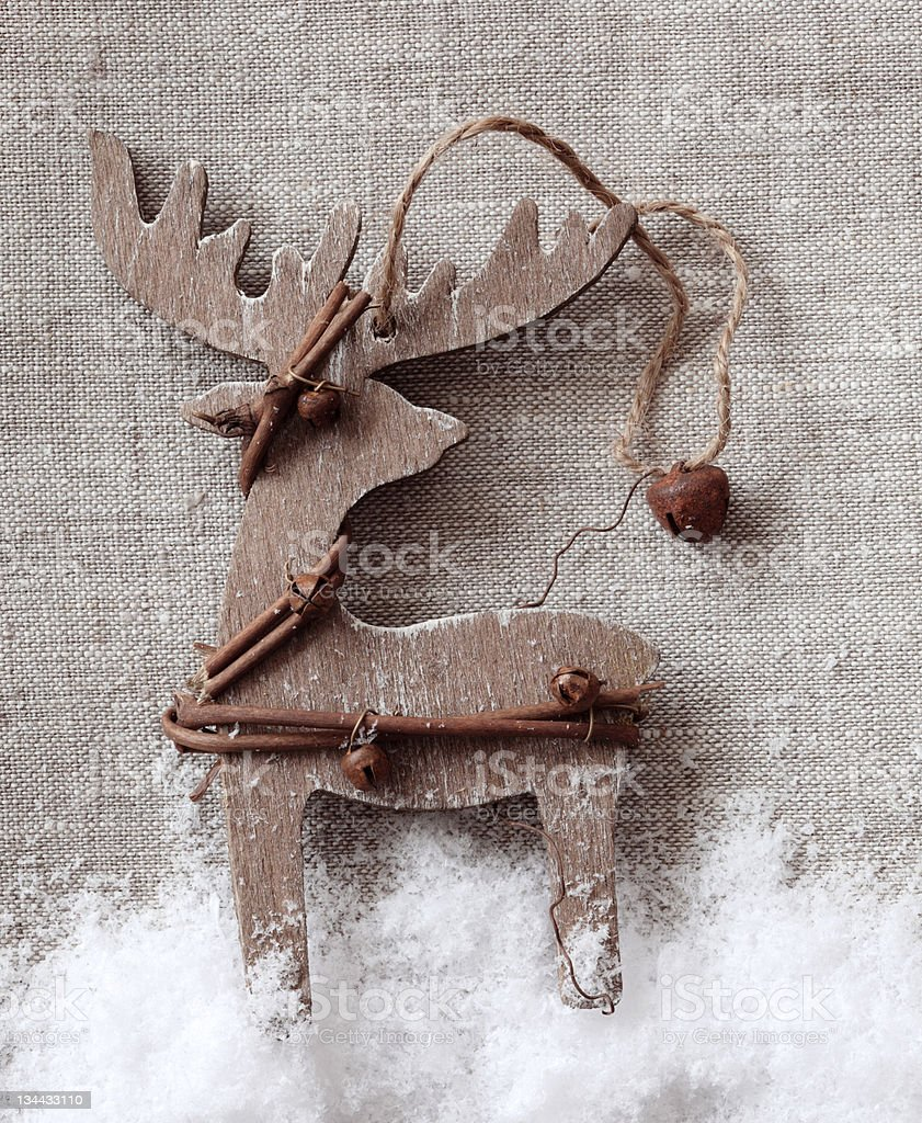 Wooden christmas deer royalty-free stock photo