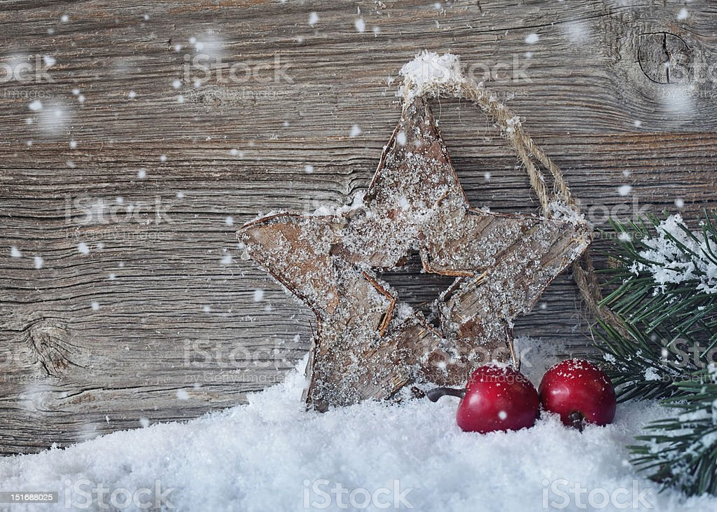 Wooden christmas star royalty-free stock photo