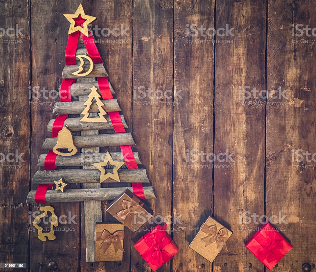 Wooden Christmas Tree Decorated With Christmas Ornaments stock ...