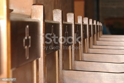 Wooden Church Chairs In Line Close Up stock photo 453607977 – Wooden Church Chairs