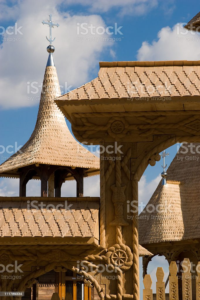 Wooden church elements stock photo