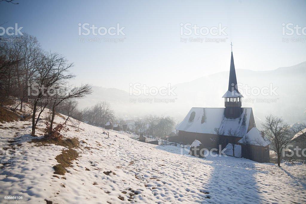 Wooden church in Barsana, Romania stock photo