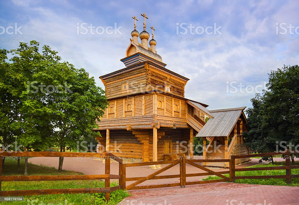 Wooden church in Kolomenskoe - Moscow Russia stock photo