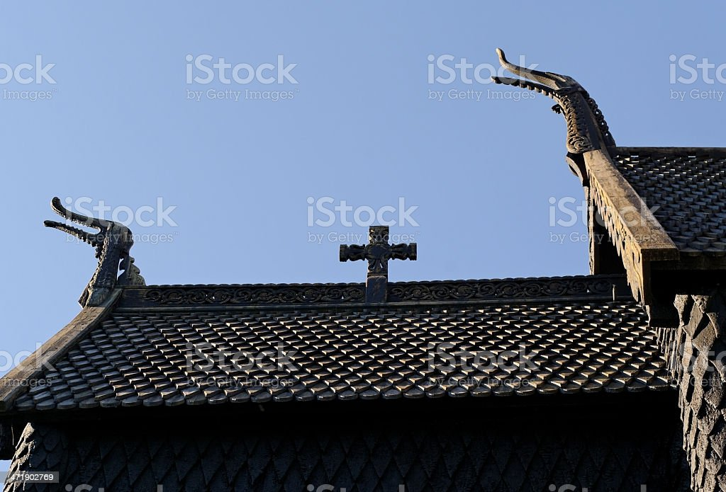 Wooden church in the Norway. royalty-free stock photo