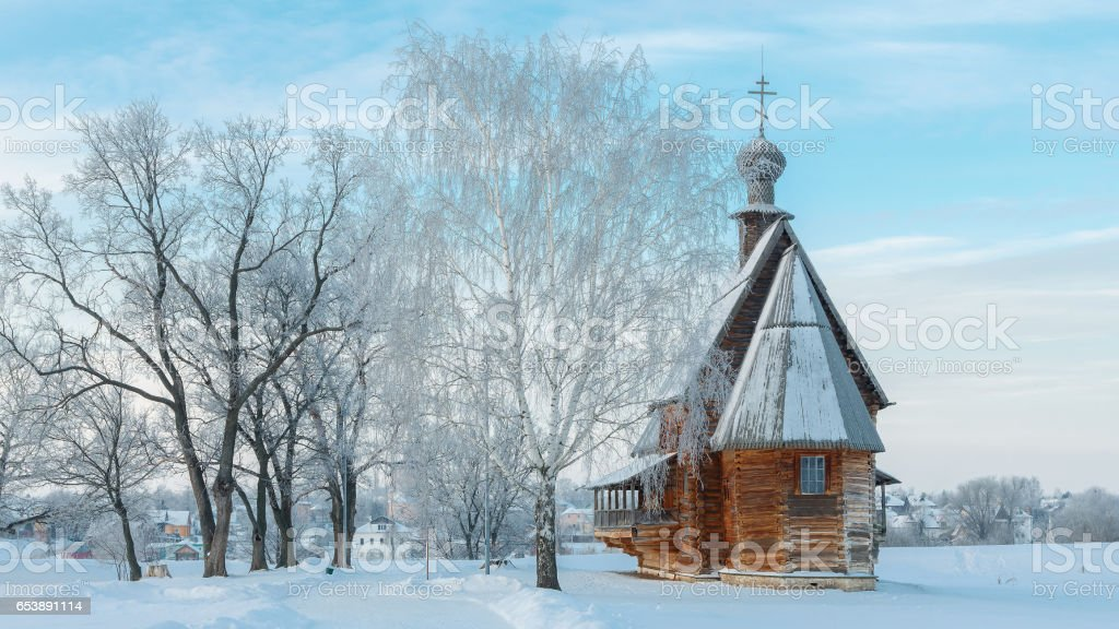 Wooden Church of St. Nicholas in Suzdal stock photo
