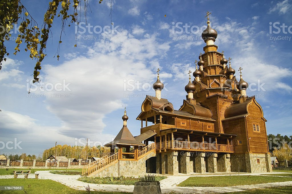 Wooden church of  village Russia stock photo
