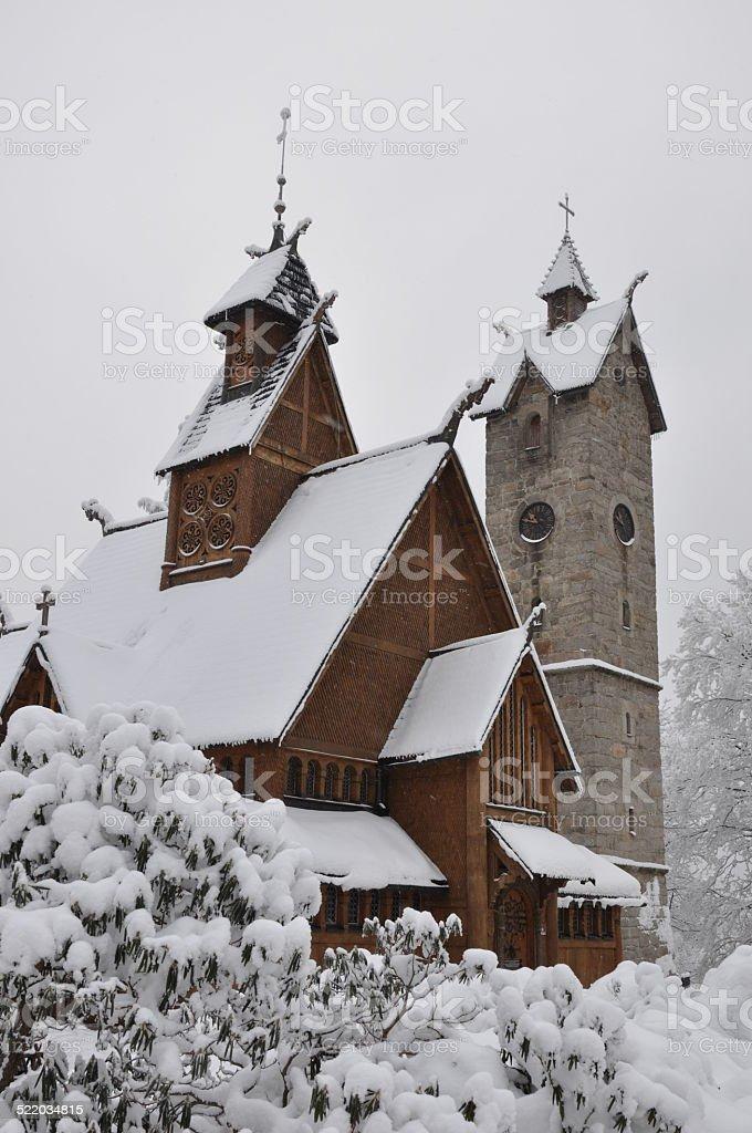 Wooden church Wang in Karpacz stock photo