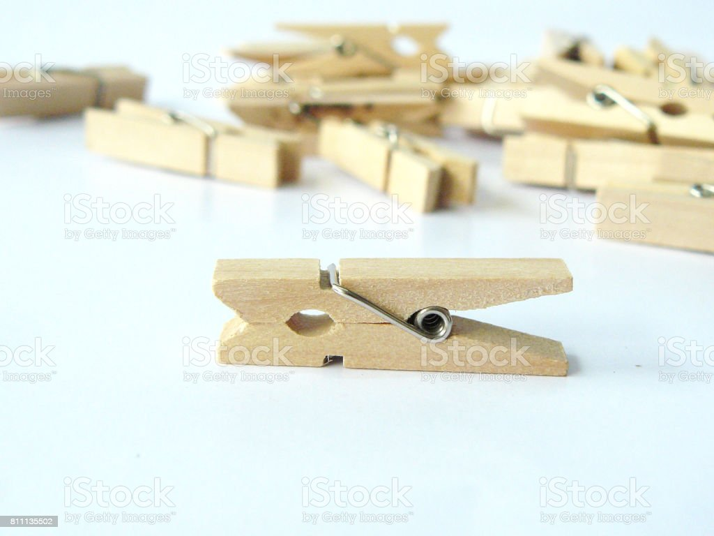 wooden clip or clothespins stock photo