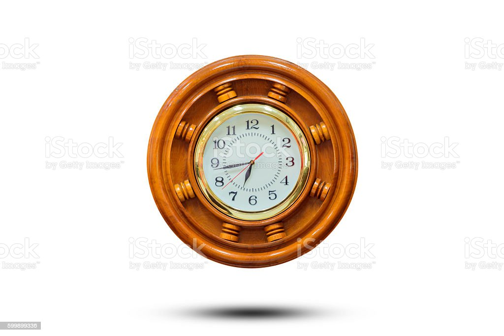 wooden clock stock photo