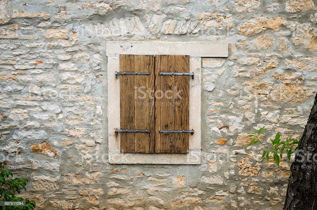 wooden closed window stock photo