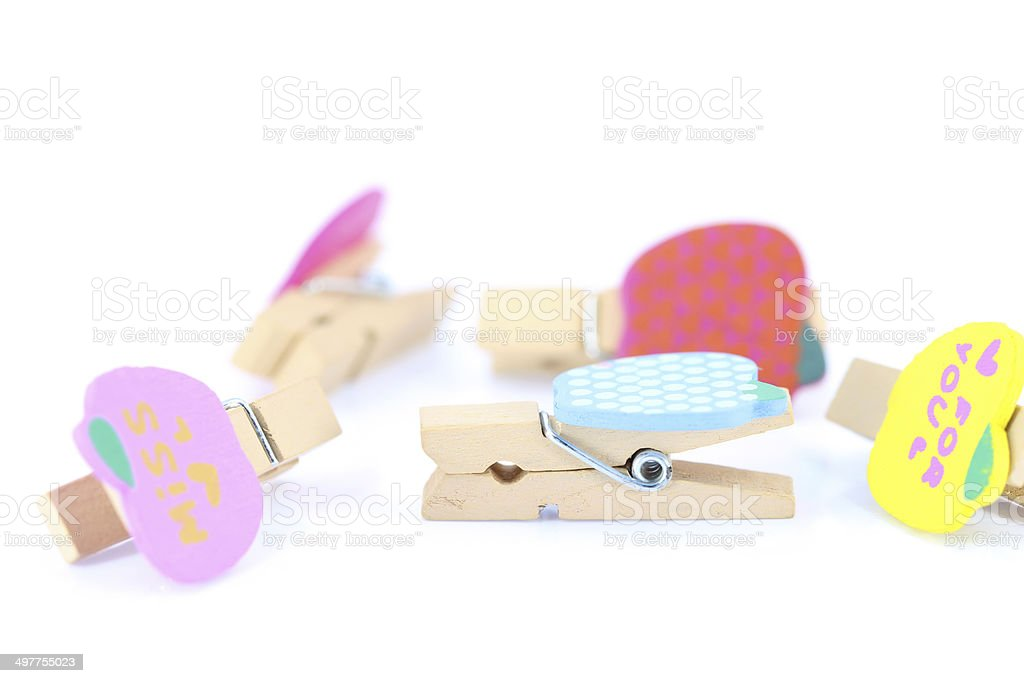 wooden clothes pin with Path royalty-free stock photo