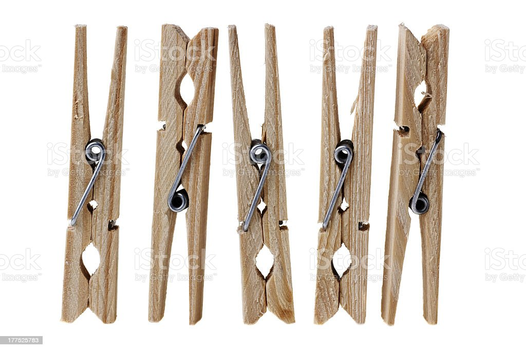 wooden clothes pins royalty-free stock photo