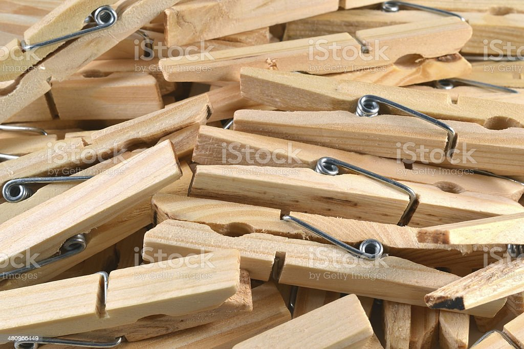 Wooden clothespins. stock photo