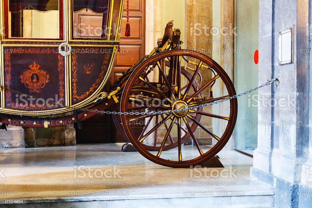 wooden coach in Town Hall, Catania stock photo