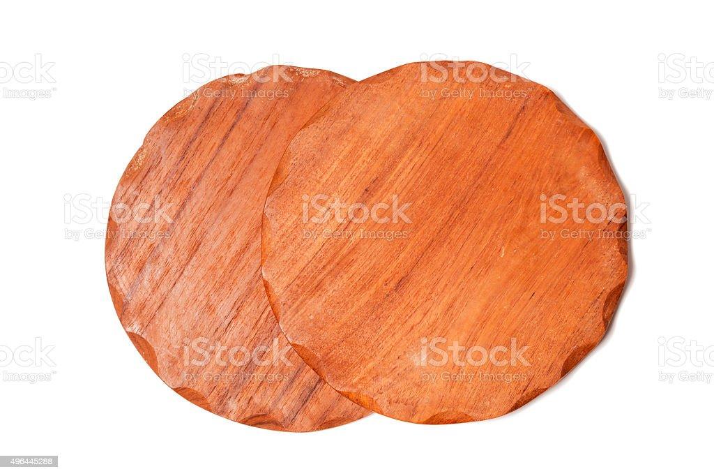 Wooden coasters isolated on white background stock photo