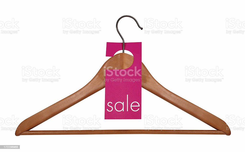 Wooden Coat Hanger & Sale Tag, path included stock photo