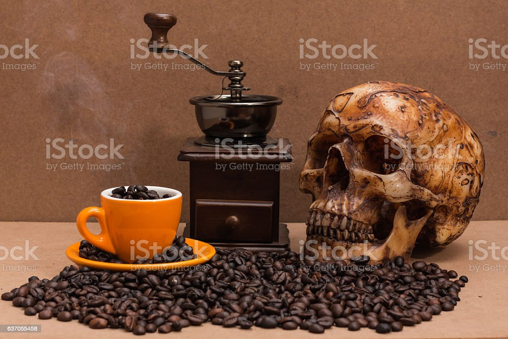 Wooden Coffee Bean Vintage Style Hand Grinder stock photo