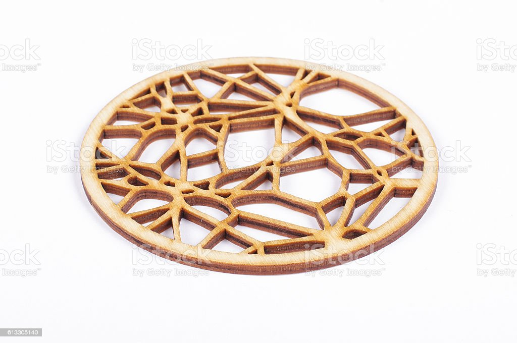 Wooden coffee coaster stock photo
