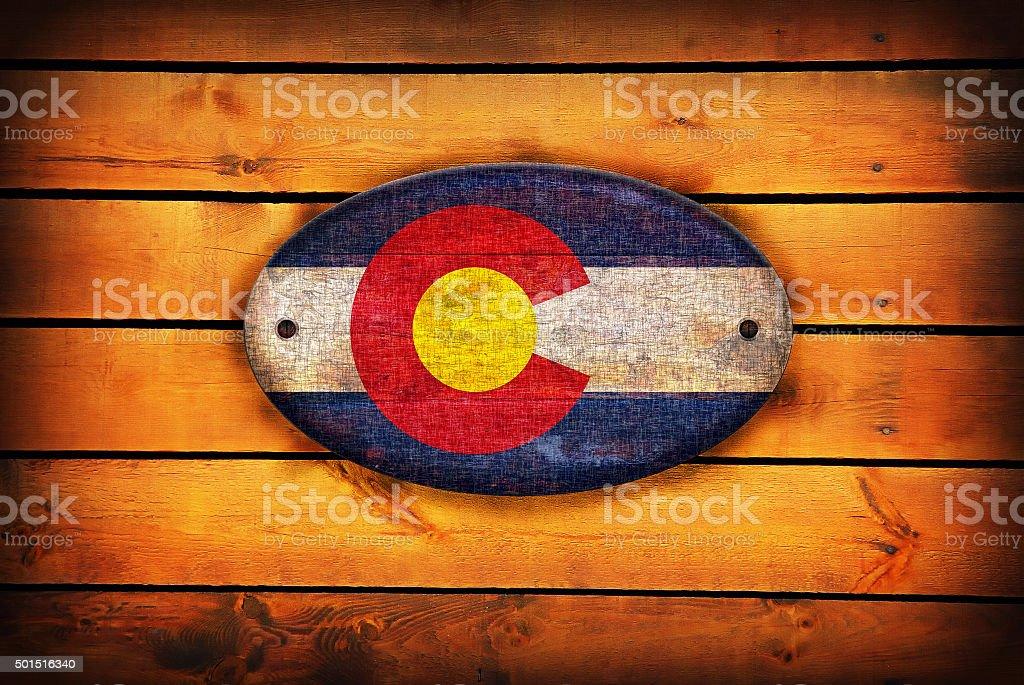 Wooden Colorado flag. stock photo
