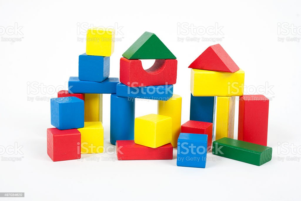 Wooden colorful bricks isolated on white background stock photo