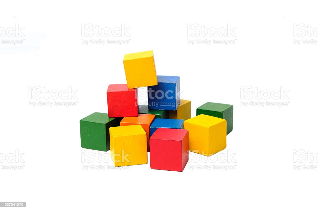 Wooden colorful building blocks. stock photo