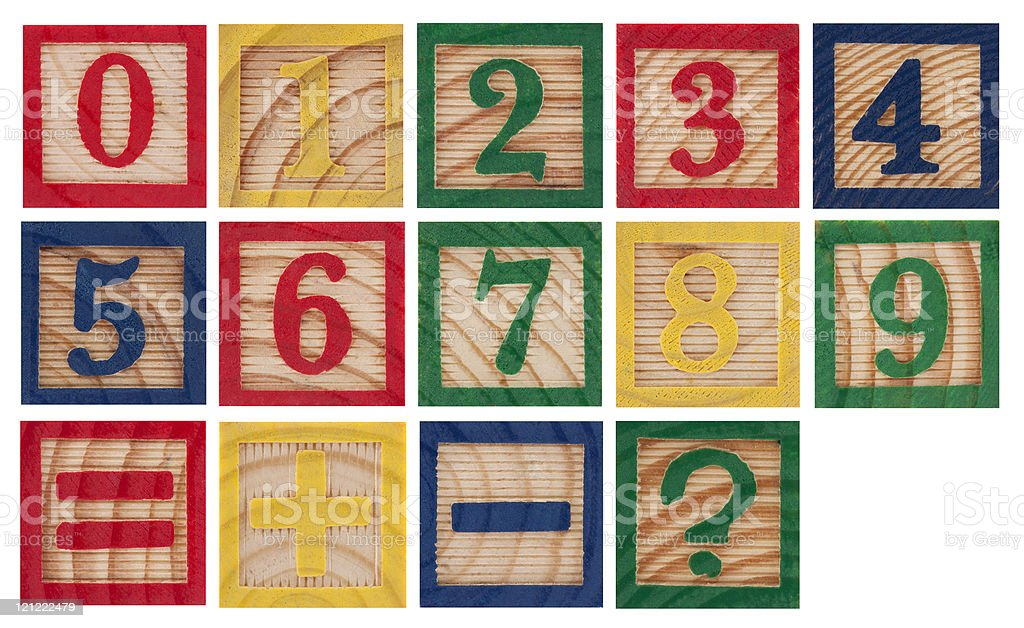 Wooden colorful numbers isolated on white stock photo
