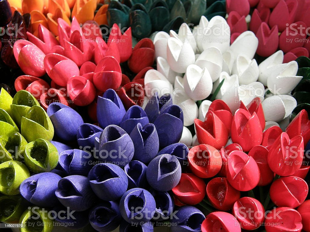 Wooden Colorful Tulips royalty-free stock photo