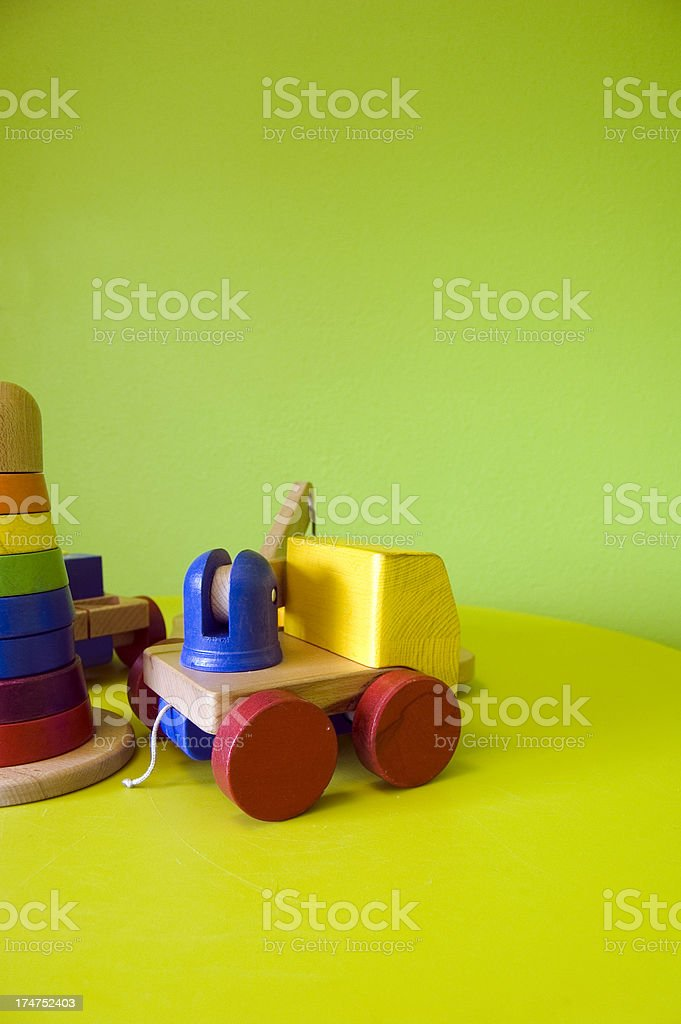 Wooden colorfull kids toys stock photo