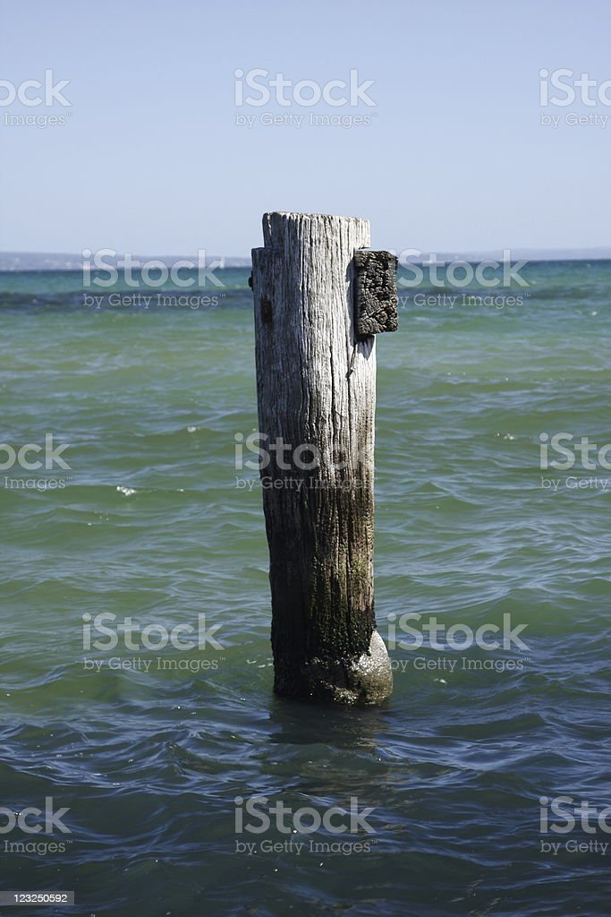 Wooden column in sea royalty-free stock photo