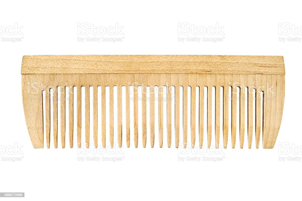 Wooden comb isolated on white stock photo