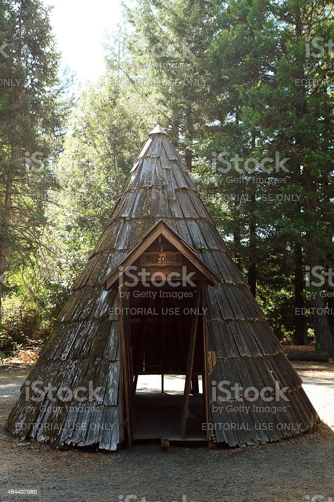 Wooden Cone Teepee Shelter stock photo