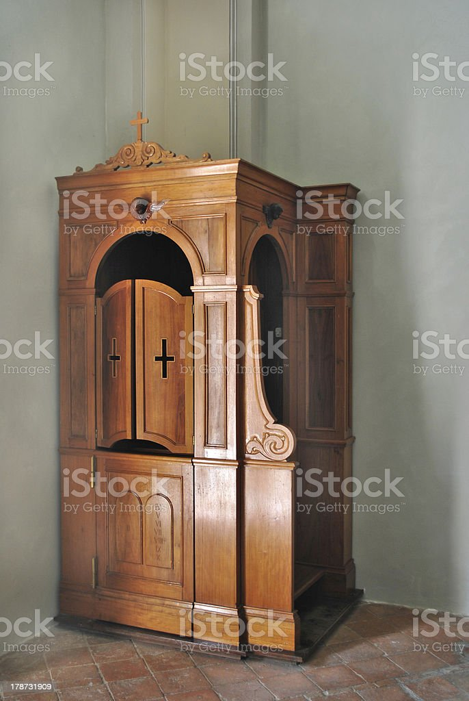 Wooden Confessional stock photo