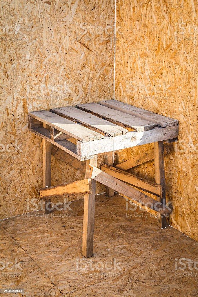 Wooden construction sawbuck stock photo
