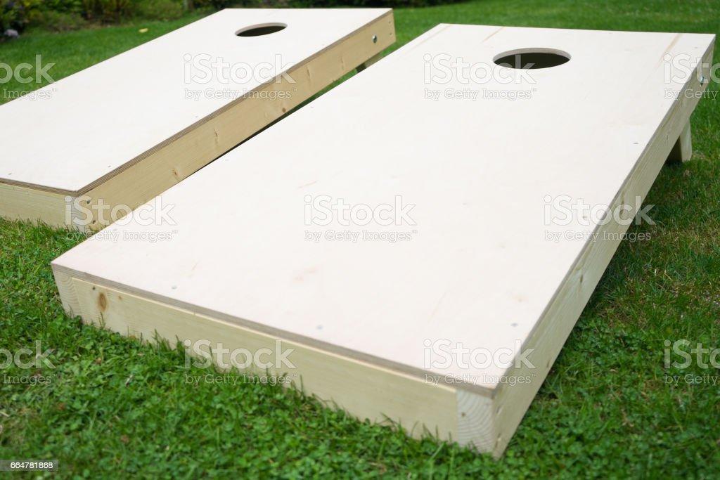 Wooden Cornhole Boards stock photo