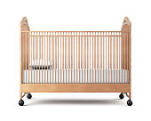 Wooden cot isolated on a white background. 3d rendering
