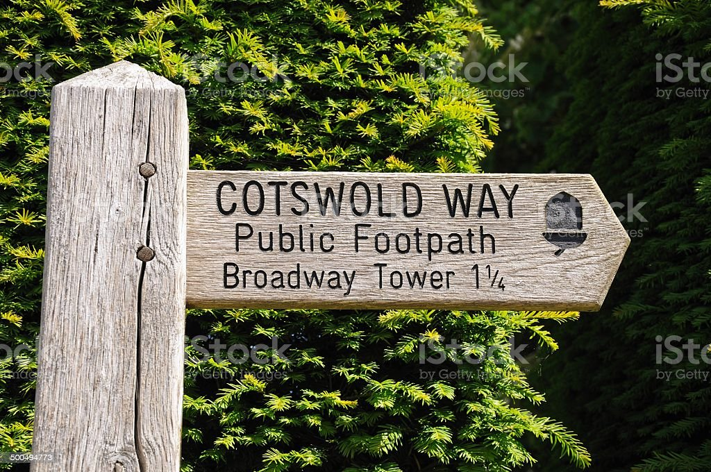 Wooden Cotswold way signpost. stock photo