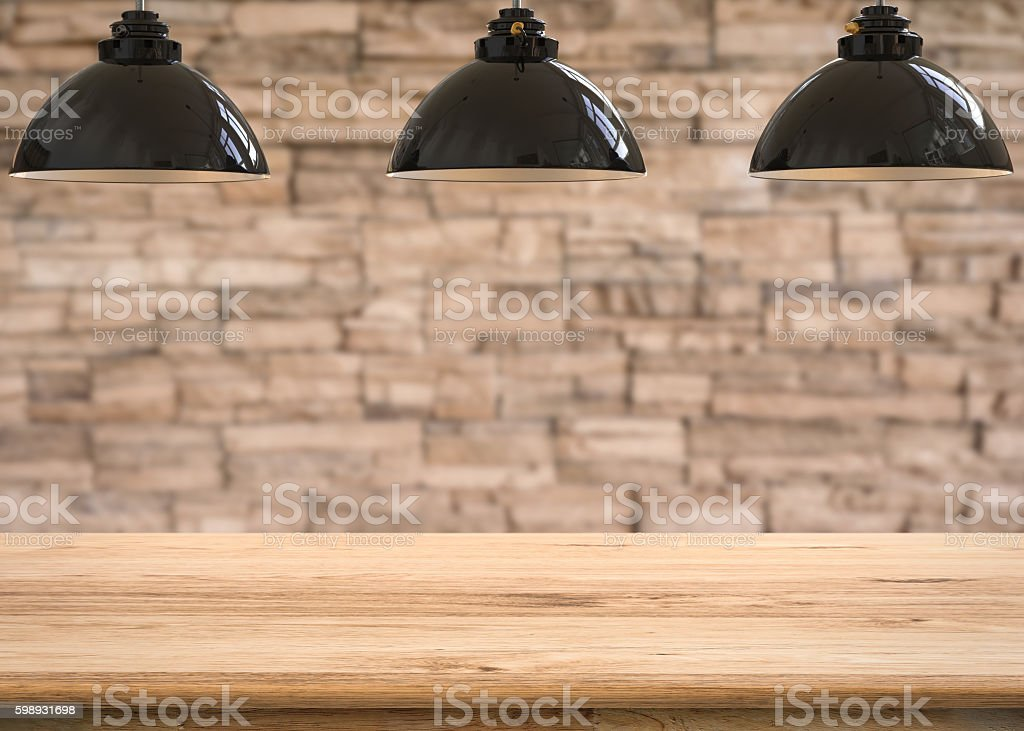 wooden counter with 3d rendering hanging lamps stock photo