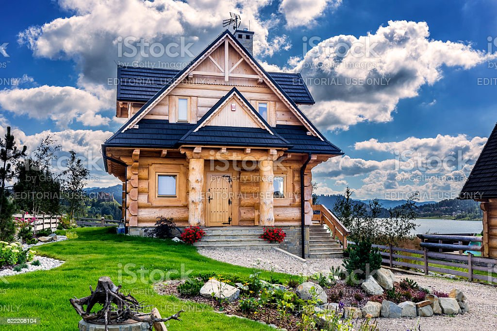 Wooden country style holiday villa, Poland stock photo