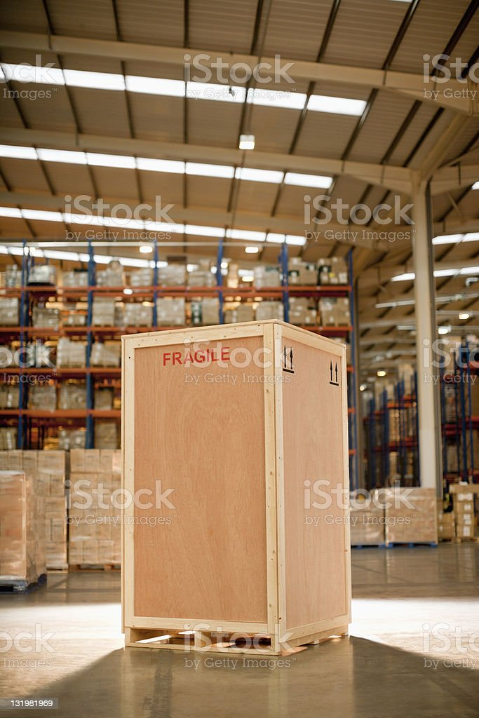 Wooden crate in warehouse stock photo
