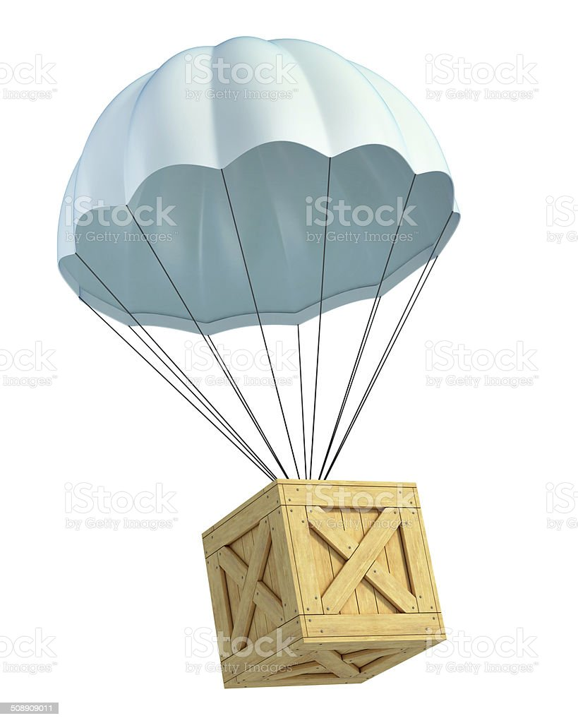 wooden crate with parachute - air mail stock photo