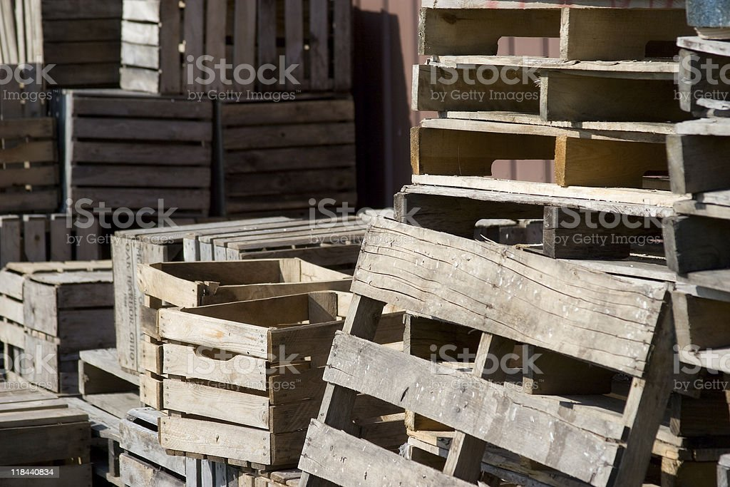 Wooden crates and pallets royalty-free stock photo